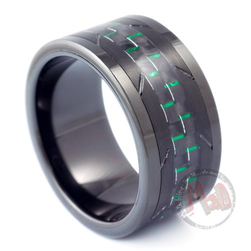 Burgler Black with Green Carbon Fiber Tungsten Ring