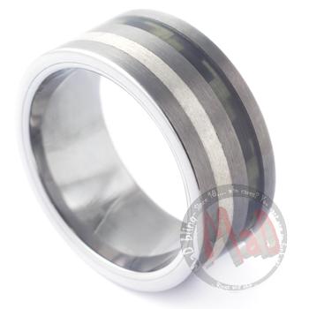 Cosa Nostra Silver Kevlar Tungsten Ring