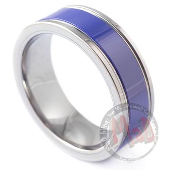 Vapor Trail Tungsten Blue Ring
